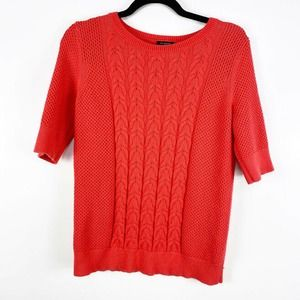 Ann Taylor Cable Short Sleeve Pullover Sweater SzM